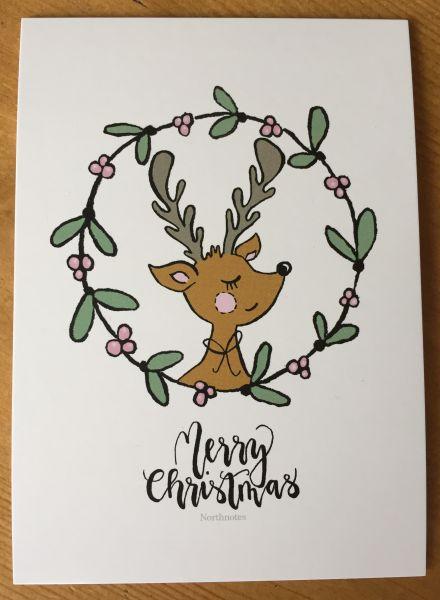 """Postkarte """"Merry Christmas"""" Rentier"""