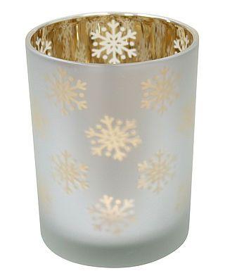 """Windlicht """"Schneeflocken"""" weiß/gold, groß"""
