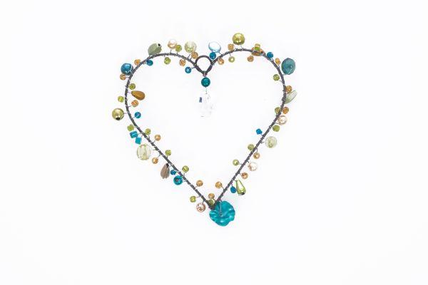 Anhänger mit Perlen, Herz türkis