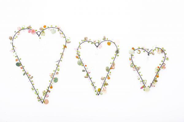 Anhänger mit Perlen Herzen, pastell, 3er Set