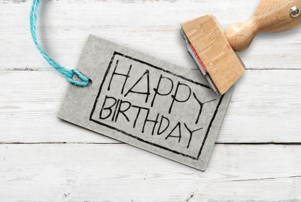 Stempel Happy Birthday, rechteckig