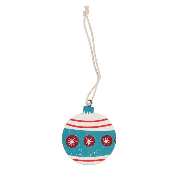 """Anhänger """"Weihnachtskugel"""" aus Holz, weiß/blau"""