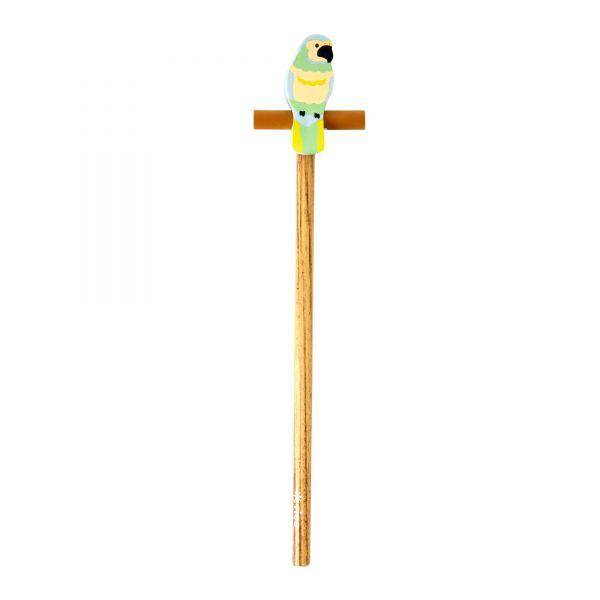 Bleistift mit Radiergummi Papagei grün
