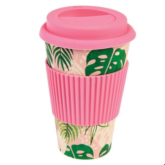 "Becher ""to go""/travel mug aus Bambus, Palmenmuster (Tropical Palm)"