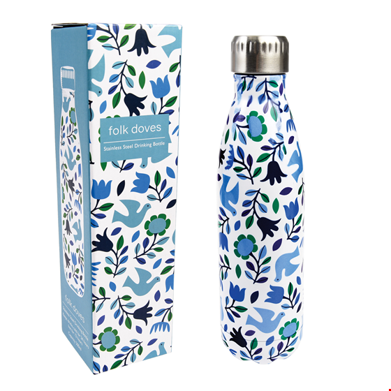"""Thermoskanne/Flasche """"Folk Doves"""", Blumenmuster blau/weiß"""