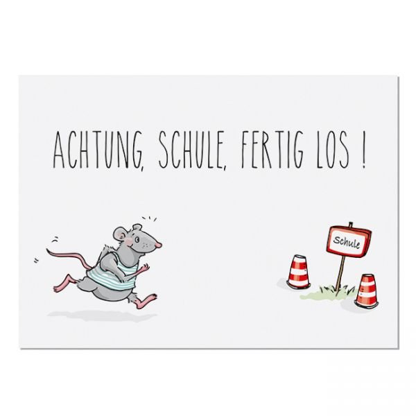 krima&isa Postkarte Achtung, Schule, fertig los!