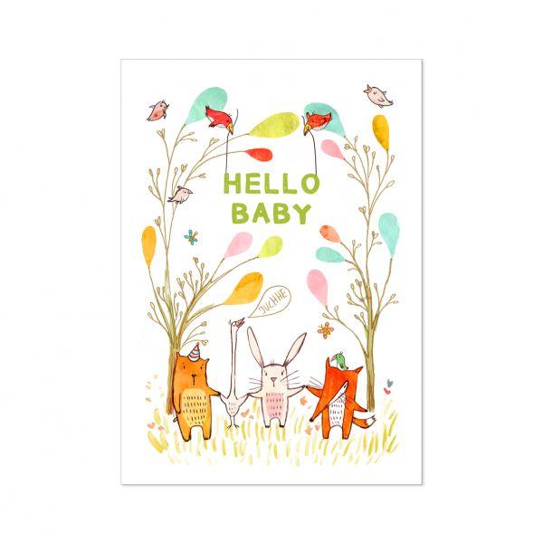 "Postkarte ""Tiere Hello Baby"", weiß"