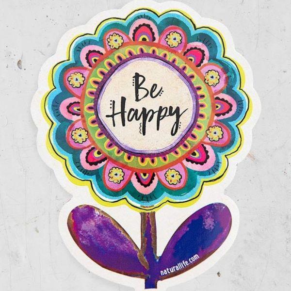 "Sticker ""be happy"" Blume"