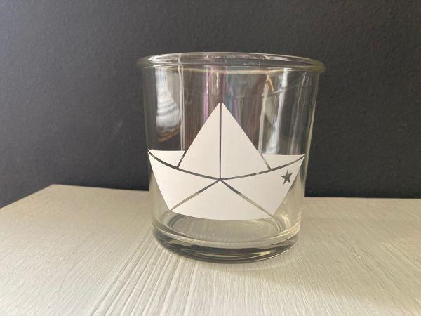 """Glas/Windlicht mit Schiffchen """"Stern"""""""