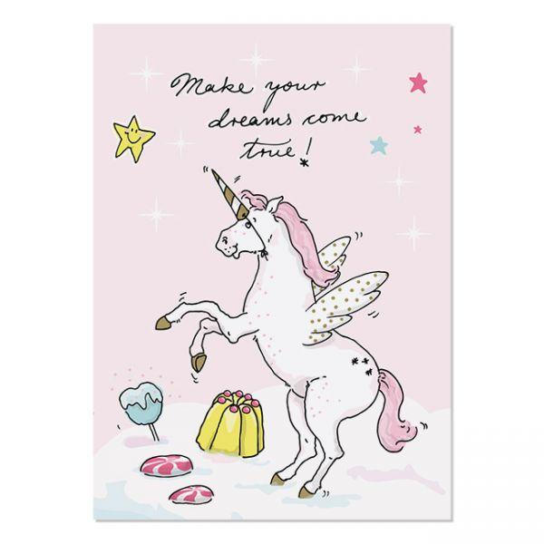 krima&isa Postkarte Einhorn-Make your dreams come true