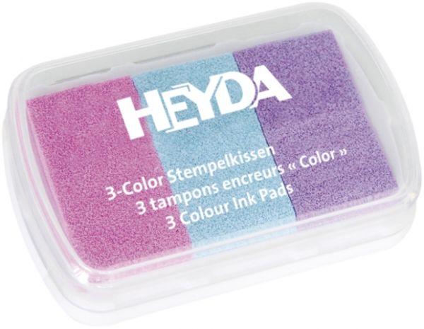 "3-Color-Stempelkissen ""Babyfarben"" (lila/rosa/hellblau) Heyda"