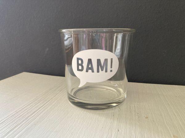 """Glas/Windlicht mit Sprechblase """"BAM"""""""