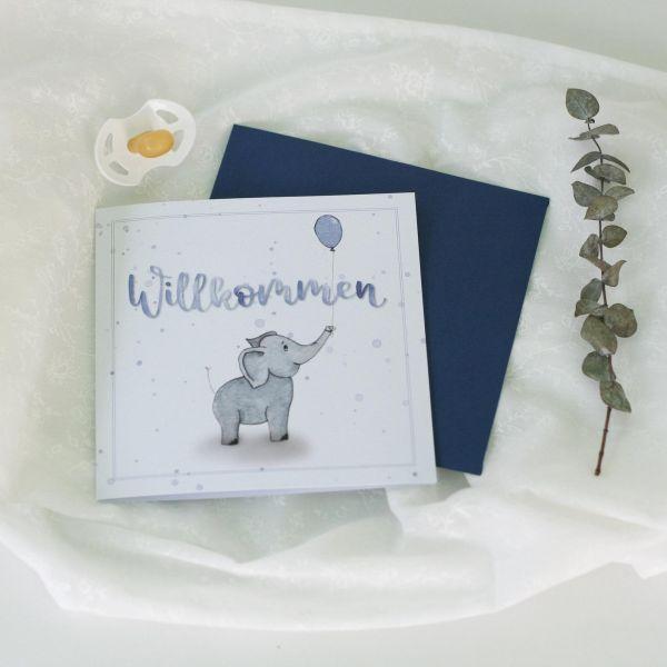 """Babykarte """"Willkommen"""" blau mit Elefant"""