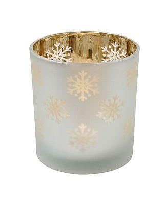 """Windlicht """"Schneeflocken"""" weiß/gold, klein"""