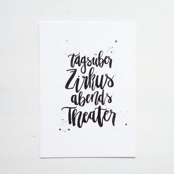 "Postkarte ""Tagsüber Zirkus abends Theater"""
