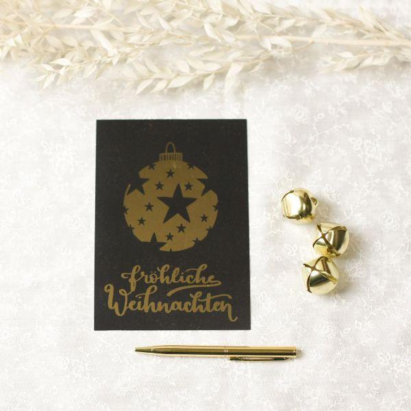 """Postkarte """"Fröhliche Weihnachten"""", schwarz/gold"""