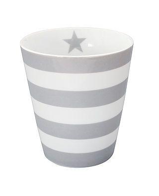 Tasse mit Streifen, hellgrau