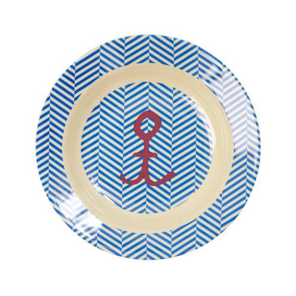 Tiefer Teller mit Streifen und Anker