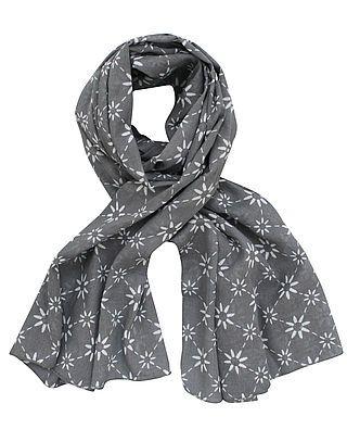 Schal, dunkelgrau mit weißem Blumenmuster
