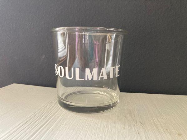 """Glas/Windlicht mit Schriftzug """"SOULMATE"""""""