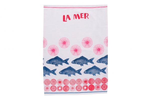 Geschirrhandtuch/Küchenhandtuch, La Mer blau und pink