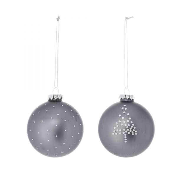 Anhänger/Weihnachtskugeln von Bloomingville aus Glas, grau 2er-Set