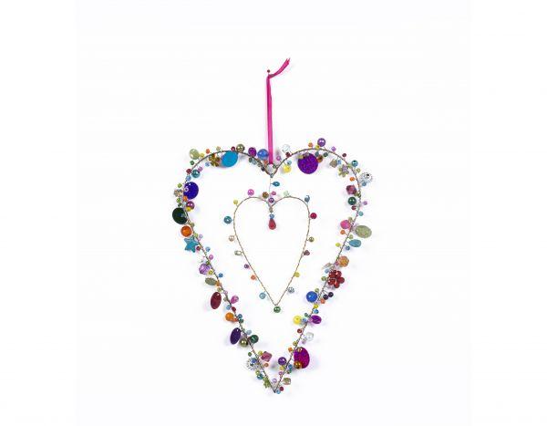 Anhänger mit Perlen Herz in Herz