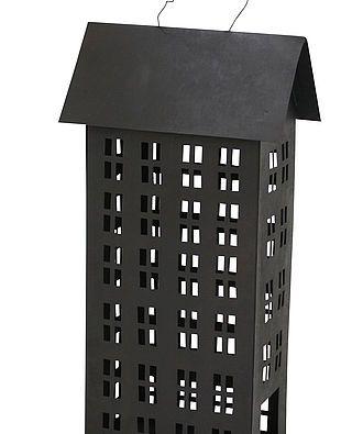 Windlicht/Laterne Haus, schwarz