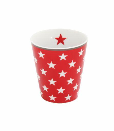 Tasse mit Sternen, rot