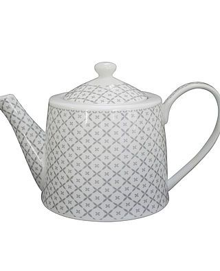 Teekanne mit Rauten, weiß/grau