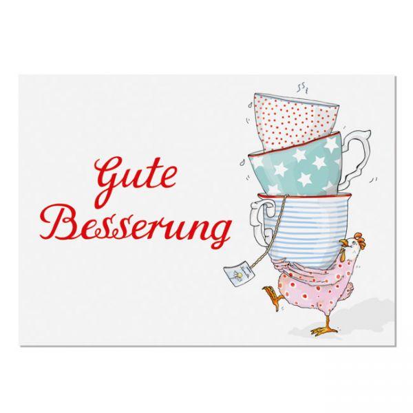 "krima&isa Postkarte ""Gute Besserung""-Huhn"