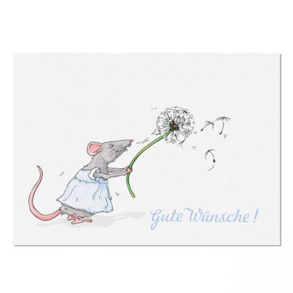 krima&isa Postkarte Pustemaus - Gute Wünsche!