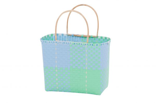 Overbeck and Friends Markttasche/Shopper Bambusgriff Ines blau-mint