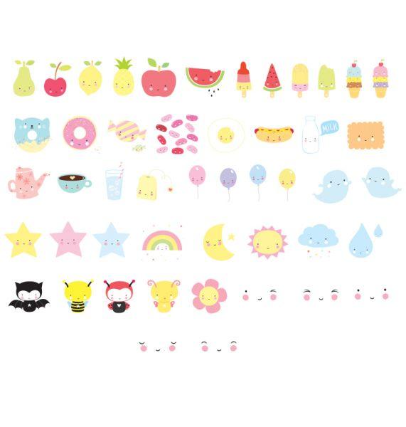Zeichen/Symbol-Set Kawaii für Lightbox/Leuchtkasten