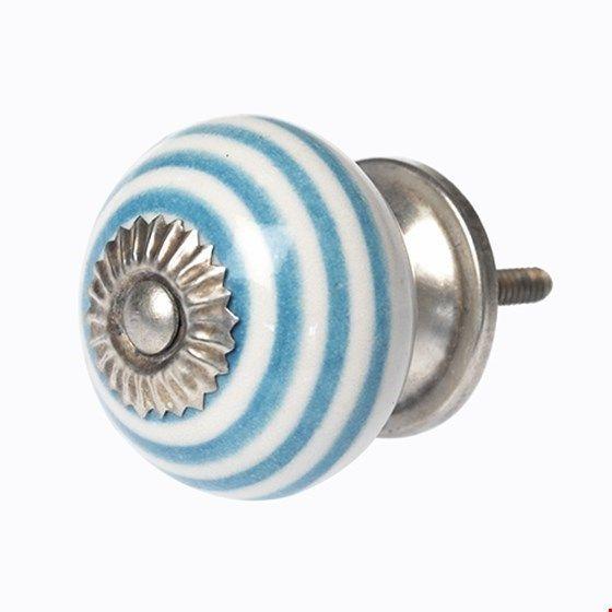 Keramikknauf Streifen hellblau
