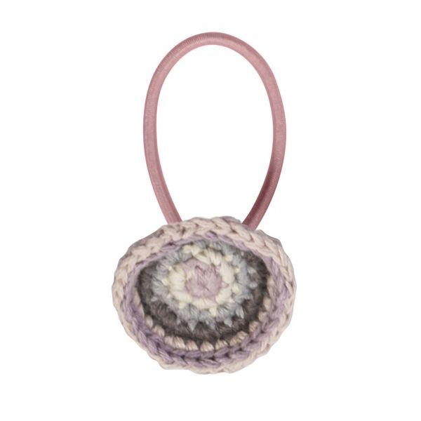 Haargummi mit gehäkeltem Kreis, rosa
