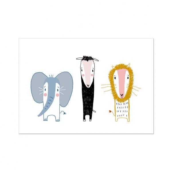"""Postkarte """"Beste Freunde"""" Löwe, Schaf, Elefant"""