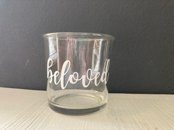 """Glas/Windlicht mit Schriftzug """"beloved"""""""