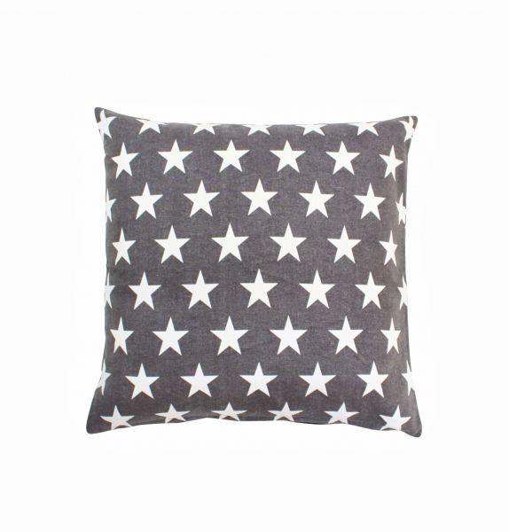 Kissenhülle dunkelgrau mit weißen Sternen