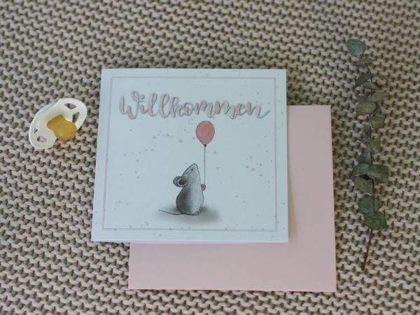 """Babykarte """"Willkommen"""" rosa mit Maus"""