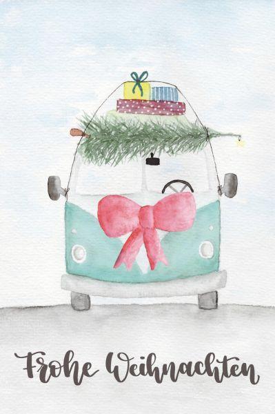 """Postkarte """"Frohe Weihnachten"""" mit Bulli"""