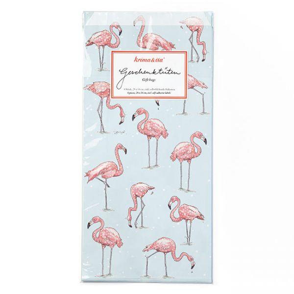 krima&isa 6 kleine Geschenktüten Flamingos
