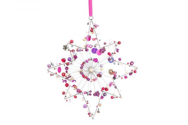 Stern mit Perlen, Purpur, achtzackig