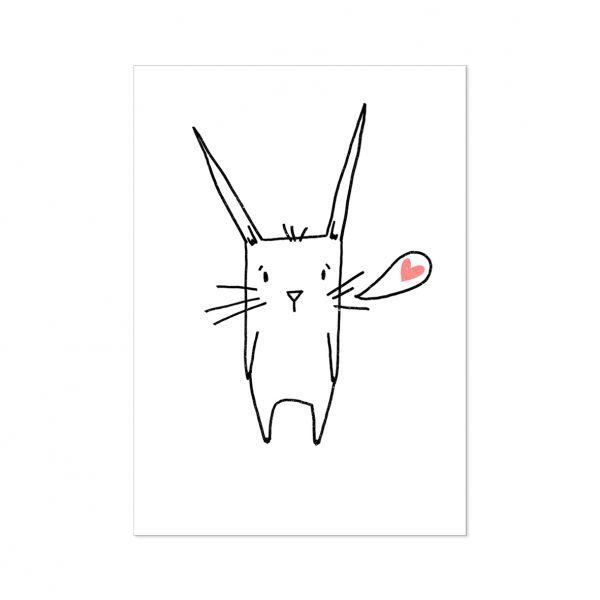 "Postkarte ""Hase mit Herz"""