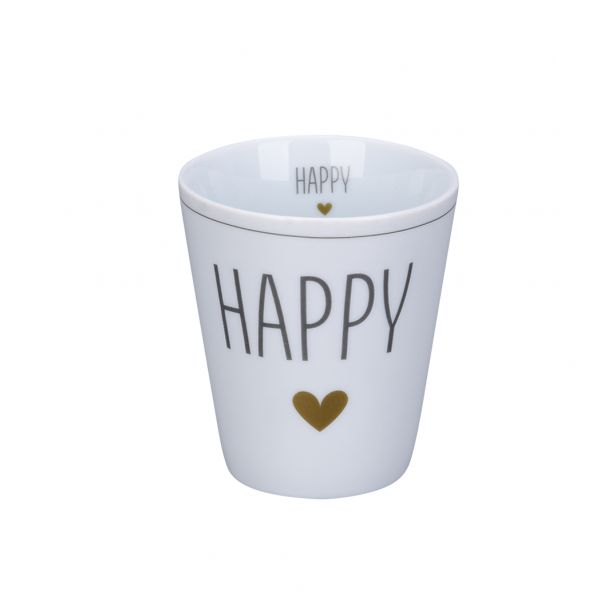 "Tasse ""Happy"", grau/gold"