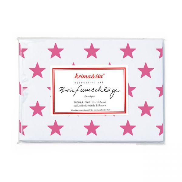 krima&isa 10 Briefumschläge Sterne pink