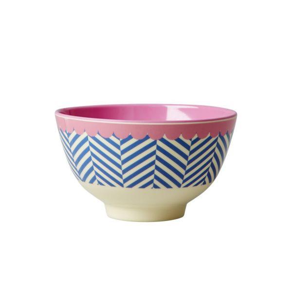 Schälchen mit Streifen, blau/weiß mit rosa Rand