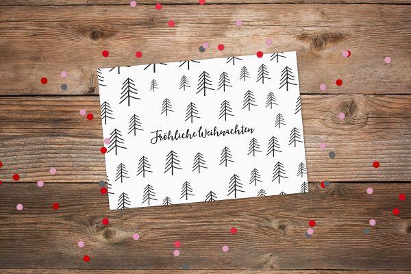 Postkarte Fröhliche Weihnachten Bäume s/w
