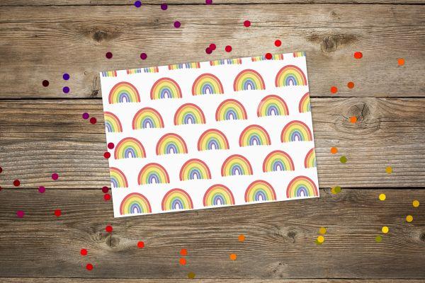 Postkarte Regenbogen klassisch