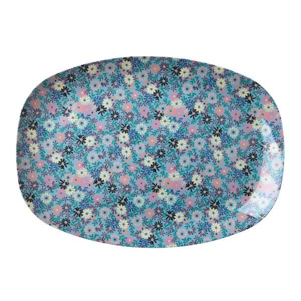Platte mit Blumen, blau/rosa